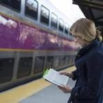 At the West Hingham commuter rail station, Emma Marjollet, of Hingham, received a copy of the book