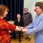"Paula Plum and Steve Barkhimer at a rehearsal for Actors' Shakespeare Project's production of ""A Midsummer Night's Dream."""