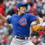 Chicago Cubs relief pitcher Koji Uehara throws in the seventh inning of a baseball game against the Cincinnati Reds, Saturday, April 22, 2017, in Cincinnati. (AP Photo/John Minchillo)