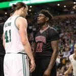 Boston MA 4/26/17 Boston Celtics Kelly Olynyk and Chicago Bulls Anthony Morrow sharing a few words after a hard foul by Morrow during second quarter action of game 5 of the NBA Playoffs at TD Garden. (Photo by Matthew J. Lee/Globe staff) topic: reporter: