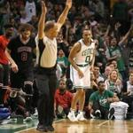 Boston MA 4/26/17 Boston Celtics Avery Bradley after knocking down a 3-point basket over Chicago Bulls Robin Lopez during third quarter action of game 5 of the NBA Playoffs at TD Garden. (Photo by Matthew J. Lee/Globe staff) topic: reporter: