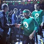 Boston MA 4/26/17 Boston Celtics Isaiah Thomas and Tyler Zeller running onto the court before they play the Chicago Bulls during game 5 of the NBA Playoffs at TD Garden. (Photo by Matthew J. Lee/Globe staff) topic: reporter: