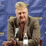 Larry Bird, Indiana Pacers president of basketball operations, announces that coach Jim O'Brien has been fired, during a news conference in Indianapolis, Sunday, Jan. 30, 2011. Assistant coach Frank Vogel has been named interim coach. (AP Photo/Tom Strattman)
