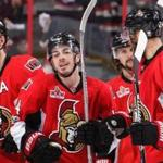 Jean-Gabriel Pageau (center) celebrated with his teammates after he scored in the second overtime.