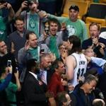 Boston, MA May 15, 2017: The Celtics Kelly Olynyk was the darling of the home crowd as he leaves the floor following the 115-105 Boston victory. The Boston Celtics hosted the Washington Wizards in Game Seven of their NBA Eastern Conference Semi-Final playoff series at the TD Garden. (Globe Staff Photo/Jim Davis)