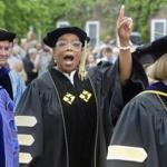 Oprah Winfrey gestures during Smith College's 139th Commencement exercises on Sunday, May 21, 2017 in Northampton, Mass. The author, actress, philanthropist and former talk show host gave the college's commencement address. (David Molnar/Springfield Republican via AP)