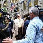 Bill Cosby (center) arrived Monday for jury selection in his sexual assault case at the Allegheny County Courthouse in Pittsburgh.