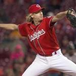 Cincinnati, Ohio-May 5, 2017-Stan Grossfeld/Globe Staff- Bronson Arroyo of the Cincinnati Reds pitching at the Great American Ballpark. He is the only member of the 2004 World Championship Red Sox team to be still playing in the major leagues.