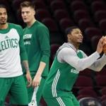 Cleveland, OH May 22, 2017: Celtics (left to right) Gerald Green, Jonas Jerebko and Marcus Smart were working on their three point shot together after practice. The Boston Celtics held a workout in preparation for Game Four of their NBA Eastern Conference Finals playoff series vs. the Cleveland Cavaliers at the Quicken Loans Arena. (Globe Staff Photo/Jim Davis)