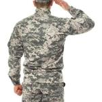 Saluting soldier in camouflage on white background