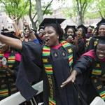 Graduates celebrated Tuesday at Harvard's first universitywide commencement ceremony for black students.