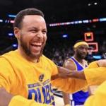 Stephen Curry celebrated with his teammates after the Warriors earned their third straight series sweep and a trip to the NBA Finals for the third consecutive year.