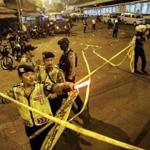 \A suspected suicide bombing near a bus terminal in Indonesia's capital Wednesday night killed a policeman and injured four other officers,.