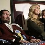 Pete Frates with his wife, Julie, and 2-year-old daughter, Lucy, when Frates was presented with the 2017 NCAA Inspiration Award in December.