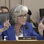 US Representative Katherine M. Clark, a Massachusetts Democrat, questioned Education Secretary Betsy DeVos about federal funds and discrimination against LGBTQ students.