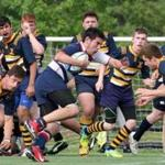 Alejandro Marin (with ball) of the Brookline High School rugby team during a match. He is from Venezuela.