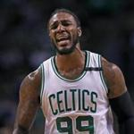 Boston, MA May 25, 2017: The Celtics Jae Crowder reacts after a first half call went against Boston. The Boston Celtics hosted the Cleveland Cavaliers for Game Five of their NBA Eastern Conference Finals playoff series at the TD Garden (Globe Staff Photo/Jim Davis)