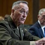 Marine General Joseph Dunford (left), chairman of the Joint Chiefs of Staff, and Jim Mattis, secretary of defense, were part of recent talks about revamping the Trump administration's Afghanistan strategy.