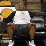"Glen ""Big Baby"" Davis rested during practice before Game 5 of the NBA Finals at the TD Garden in 2010."