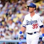 LOS ANGELES, CA - JUNE 22: Cody Bellinger #35 of the Los Angeles Dodgers reacts as he strikes out looking during the first inning against the New York Mets at Dodger Stadium on June 22, 2017 in Los Angeles, California. (Photo by Harry How/Getty Images)
