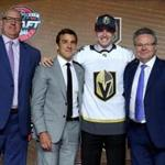 CHICAGO, IL - JUNE 23: Cody Glass poses for photos after being selected sixth overall by the Vegas Golden Knights during the 2017 NHL Draft at the United Center on June 23, 2017 in Chicago, Illinois. (Photo by Bruce Bennett/Getty Images)