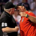Boston, MA - 6/24/2017 - (7th inning) Boston Red Sox manager John Farrell continued to argue his point even after he was tossed from the game by umpire crew chief Bill Miller (26) after a run was walked in on a Balk call during the seventh inning. The Boston Red Sox host the Los Angeles Angels in Game 2 of a three game series at Fenway Park. - (Barry Chin/Globe Staff), Section: Sports, Reporter: Peter Abraham, Topic: 25Red Sox-Angels, LOID: 8.3.2888891694.