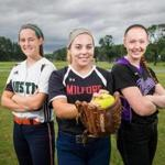 06/24/2017 DEVENS, MA L-R Austin Prep's Logan MacDonald (cq), Milford's Ali Atherton (cq), and Norton's Kelly Nelson (cq) pose for a photo at Willard Park in Devens. (Aram Boghosian for The Boston Globe)