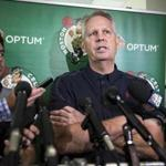 Waltham, MA - 7/14/17 - Celtics team executive Danny Ainge announces that free agent Gordon Hayward will be joining the Celtics from HealthPoint, the Celtics practice facility, on Friday, July 14, 2017. (Nicholas Pfosi for The Boston Globe)