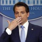 Incoming White House communications director Anthony Scaramucci blew a kiss at his first press briefing.