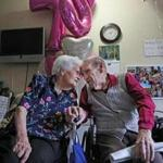Helen and John Kelly celebrated their 75th anniversary Tuesday at the Natick nursing home where they live.