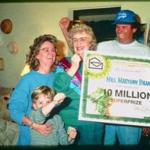 Mary Ann Brandt celebrates her $10 million prize from Publishers Clearing House with son Michael , daughter-in-law Kelly and grandson Joel. sweepstakes winners. 1/27/96.