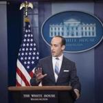 Senior Adviser Stephen Miller speaks during a press briefing at the White House on Wednesday. MUST CREDIT: Washington Post photo by Jabin Botsford