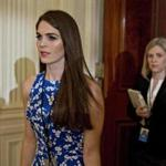 epa06147246 (FILE) - Hope Hicks, then White House director of strategic communications, arrives to a swearing in ceremony of White House senior staff in the East Room of the White House in Washington, DC, USA, 22 January 2017 (reissued 16 August 2017). Acoording to reports, a White House official on 16 August 2017 said Hope Hicks will be named as interim White House communications director. The 28-year-old follows short-term ousted communications director Anthony Scaramucci. EPA/Andrew Harrer / POOL