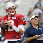 New England Patriots (12) quarterback Tom Brady smiles as he looks to pass while head coach Bill Belichick looks on during a joint NFL football practice with the Houston Texans, Tuesday, Aug. 15, 2016 in White Sulphur Springs, W.Va. (AP Photo/Chris Jackson)