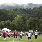 The New England Patriots work out during a joint NFL football practice with the Houston Texans, Tuesday, Aug. 15, 2017 in White Sulphur Springs, W.Va. (Brett Coomer/Houston Chronicle via AP)