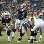 New England Patriots quarterback Jacoby Brissett (7) points as he calls out from the line of scrimmage during an NFL preseason football game against the Jacksonville Jaguars, Thursday, Aug. 10, 2017, in Foxborough, Mass. (AP Photo/Mary Schwalm)