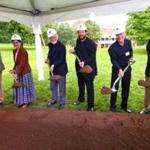Architect William Rawn, trustee Joyce Linde, conductors John Williams and Andris Nelsons, musician Richard Sebring, and managing director Mark Volpe break ground Friday on the BSO's new Tanglewood Learning Institute building.