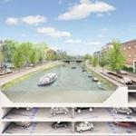 Construction crews are building a two-floor parking garage with 600 spaces for vehicles and 60 spots for bicycles underneat the Boerenwetering, a canal in the heart of the Oude Pijp neighborhood.