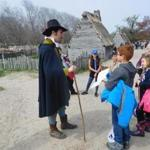 Phillip Messier played the role of Governor William Bradford as he answered questions from students visiting Plimoth Plantation.