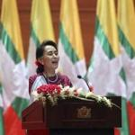 Myanmar state counsellor Aung San Suu Kyi delivered a televised speech Tuesday.
