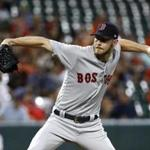 Boston Red Sox starting pitcher Chris Sale throws to the Baltimore Orioles in the first inning of a baseball game in Baltimore, Wednesday, Sept. 20, 2017. (AP Photo/Patrick Semansky)
