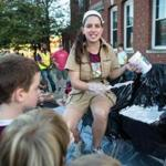 "Pauline Katz filled a chair with Fluff for a game of musical chairs during the ""What the Fluff?"" Festival."