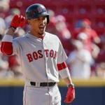 Boston Red Sox's Mookie Betts reacts after hitting the game-tying three-run double off Cincinnati Reds relief pitcher Raisel Iglesias in the eighth inning of a baseball game, Sunday, Sept. 24, 2017, in Cincinnati. The Red Sox won 5-4. (AP Photo/John Minchillo)