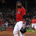 Boston, MA - 9/29/2017 - (6th inning) Boston Red Sox designated hitter Hanley Ramirez (13) walks off the field after grounding out with bases loaded for the third out n the bottom of the sixth inning. The Boston Red Sox host the Houston Astros at Fenway Park. - (Barry Chin/Globe Staff), Section: Sports, Reporter: Peter Abraham, Topic: 30Red Sox-Astros, LOID: 8.3.3877650027.