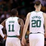 BOSTON, MA - OCTOBER 2: Kyrie Irving #11 of the Boston Celtics and Gordon Hayward #20 look on during the first half against the Charlotte Hornets at TD Garden on October 2, 2017 in Boston, Massachusetts. NOTE TO USER: User expressly acknowledges and agrees that, by downloading and or using this Photograph, user is consenting to the terms and conditions of the Getty Images License Agreement. (Photo by Maddie Meyer/Getty Images)