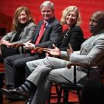 Robert Morris University President Chris Howard (right) spoke at Monday's forum at Harvard University. He was joined (from left) by UConn's Susan Herbst, the NCAA's Mark Emmert, and the Ivy League's Robin Harris.