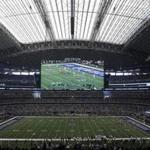 An interior, general, overall view of AT&T Stadium during an NFL football game between the Green Bay Packers and Dallas Cowboys on Sunday, Oct. 8, 2017, in Arlington, Texas. (AP Photo/Ron Jenkins)