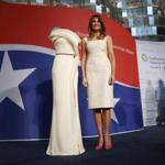 First lady Melania Trump donates her inaugural gown, designed by Herve Pierre, to the First Ladies' Collection at the Smithsonian's National Museum of American History, during a ceremony in Washington, Friday, Oct. 20, 2017. (AP Photo/Pablo Martinez Monsivais)
