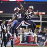 Foxborough, MA - 10/22/2017: NE Patriots Brandon Bolden and Cassius Marsh celebrate Marsh's blocked field goal during 1st quarter action.1st quarter action. The New England Patriots host the Atlanta Falcons at Gillette Stadium. Jim Davis/ Globe staff