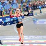 Shalane Flanagan of Marblehead crossed the finish line to win the Professional Women's Divisions of the New York City Marathon Sunday.